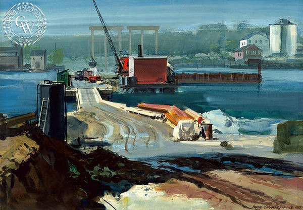 The Farther Shore, (Westport), 1956, California art by Hardie Gramatky. HD giclee art prints for sale at CaliforniaWatercolor.com - original California paintings, & premium giclee prints for sale