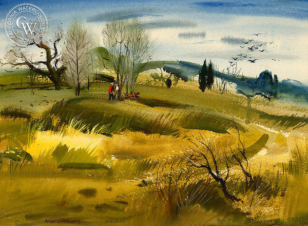 Field Trials, 1954, California art by Hardie Gramatky. HD giclee art prints for sale at CaliforniaWatercolor.com - original California paintings, & premium giclee prints for sale