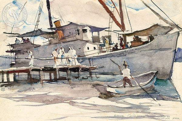 Tropical Steamer, Mazatlan, 1931, California art by Hardie Gramatky. HD giclee art prints for sale at CaliforniaWatercolor.com - original California paintings, & premium giclee prints for sale