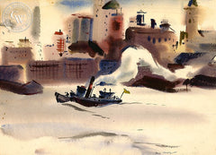 Tugboat, 1936, California art by Hardie Gramatky. HD giclee art prints for sale at CaliforniaWatercolor.com - original California paintings, & premium giclee prints for sale