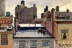 View from the Roof, N.Y., 1937, California art by Hardie Gramatky. HD giclee art prints for sale at CaliforniaWatercolor.com - original California paintings, & premium giclee prints for sale