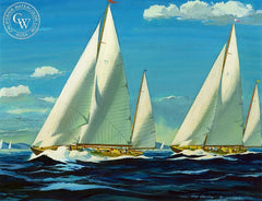 Yacht Race, 1945, California art by Hardie Gramatky. HD giclee art prints for sale at CaliforniaWatercolor.com - original California paintings, & premium giclee prints for sale