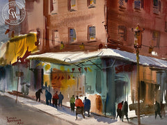 Chinatown Street Corner, California art by Harold Gretzner. HD giclee art prints for sale at CaliforniaWatercolor.com - original California paintings, & premium giclee prints for sale