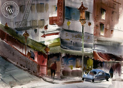 Chinatown, California art by Harold Gretzner. HD giclee art prints for sale at CaliforniaWatercolor.com - original California paintings, & premium giclee prints for sale