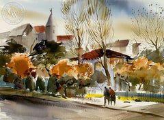 Fall Scene, California art by Harold Gretzner. HD giclee art prints for sale at CaliforniaWatercolor.com - original California paintings, & premium giclee prints for sale