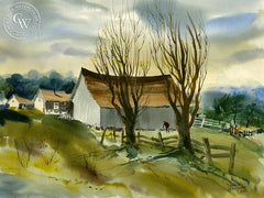 Three Barns, c. 1950's, California art by Harold Gretzner. HD giclee art prints for sale at CaliforniaWatercolor.com - original California paintings, & premium giclee prints for sale