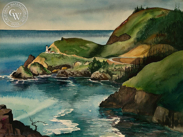 Cape Blanco Lighthouse, 1934, California art by Harper Goff. HD giclee art prints for sale at CaliforniaWatercolor.com - original California paintings, & premium giclee prints for sale