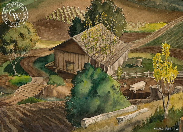 The Farm, 1932, California art by Harper Goff. HD giclee art prints for sale at CaliforniaWatercolor.com - original California paintings, & premium giclee prints for sale