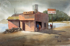 Biggie's Fish Trap, 1950, California art by Henry Doane. HD giclee art prints for sale at CaliforniaWatercolor.com - original California paintings, & premium giclee prints for sale