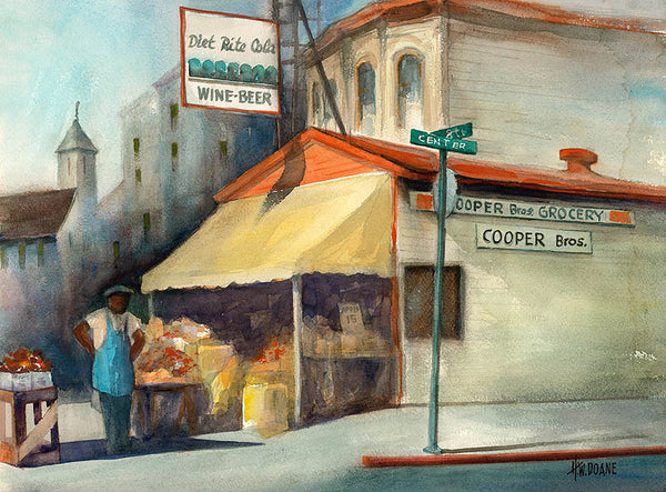 Cooper Brothers, c. 1950's, California art by Henry Doane. HD giclee art prints for sale at CaliforniaWatercolor.com - original California paintings, & premium giclee prints for sale