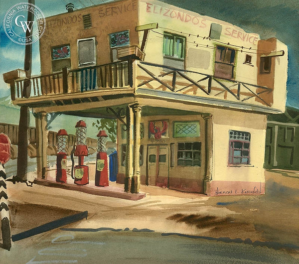 Elizondo's Gas Station, California art by Herbert L. Kornfeld. HD giclee art prints for sale at CaliforniaWatercolor.com - original California paintings, & premium giclee prints for sale