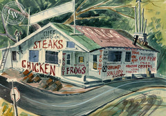 We Cook Frogs, California art by Herbert L. Kornfeld. HD giclee art prints for sale at CaliforniaWatercolor.com - original California paintings, & premium giclee prints for sale