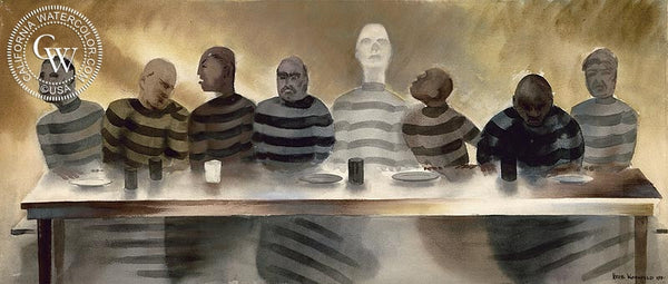 Inmates, 1940, California art by Herbert L. Kornfeld. HD giclee art prints for sale at CaliforniaWatercolor.com - original California paintings, & premium giclee prints for sale