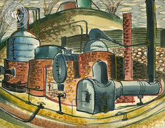 Kilns, California art by Herbert L. Kornfeld. HD giclee art prints for sale at CaliforniaWatercolor.com - original California paintings, & premium giclee prints for sale