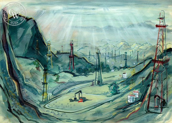 Oil Field, California art by Herbert L. Kornfeld. HD giclee art prints for sale at CaliforniaWatercolor.com - original California paintings, & premium giclee prints for sale