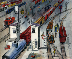 Trains, California art by Herbert L. Kornfeld. HD giclee art prints for sale at CaliforniaWatercolor.com - original California paintings, & premium giclee prints for sale