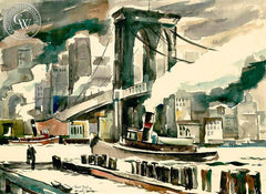 Brooklyn Bridge, 1941, California art by Hubert Buel. HD giclee art prints for sale at CaliforniaWatercolor.com - original California paintings, & premium giclee prints for sale