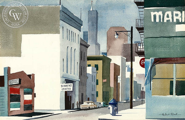 Downtown, California art by Hubert Buel. HD giclee art prints for sale at CaliforniaWatercolor.com - original California paintings, & premium giclee prints for sale