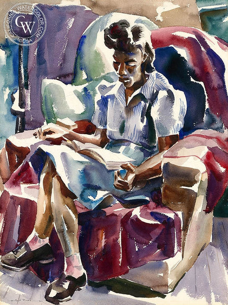 Homework, 1941, California art by Hubert Buel. HD giclee art prints for sale at CaliforniaWatercolor.com - original California paintings, & premium giclee prints for sale