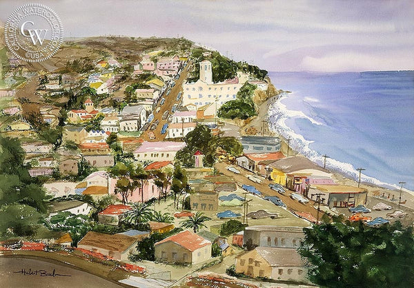 Laguna Beach, California art by Hubert Buel. HD giclee art prints for sale at CaliforniaWatercolor.com - original California paintings, & premium giclee prints for sale