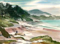 Northern California Beach Scene, California art by Hubert Buel. HD giclee art prints for sale at CaliforniaWatercolor.com - original California paintings, & premium giclee prints for sale