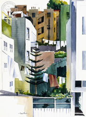 San Francisco Backyards, California art by Hubert Buel. HD giclee art prints for sale at CaliforniaWatercolor.com - original California paintings, & premium giclee prints for sale