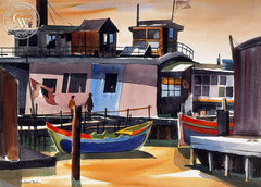 Sausalito, 1950, California art by Hubert Buel. HD giclee art prints for sale at CaliforniaWatercolor.com - original California paintings, & premium giclee prints for sale