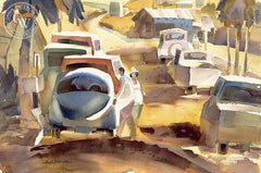 Cars, California art by Hugh Duncan. HD giclee art prints for sale at CaliforniaWatercolor.com - original California paintings, & premium giclee prints for sale