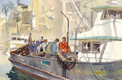 Fisherman, California art by Hugh Duncan. HD giclee art prints for sale at CaliforniaWatercolor.com - original California paintings, & premium giclee prints for sale