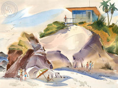 Leo Carrillo State Beach, c. 1950, California art by Hugh Duncan. HD giclee art prints for sale at CaliforniaWatercolor.com - original California paintings, & premium giclee prints for sale