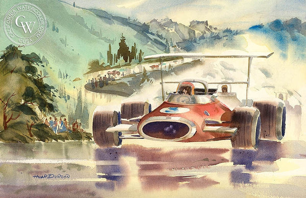 Mountain Race, California art by Hugh Duncan. HD giclee art prints for sale at CaliforniaWatercolor.com - original California paintings, & premium giclee prints for sale
