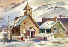 Winter in Bodie, California art by Hugh Duncan. HD giclee art prints for sale at CaliforniaWatercolor.com - original California paintings, & premium giclee prints for sale
