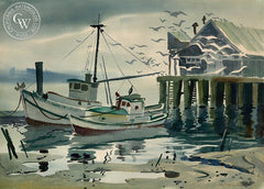 Boat Dock, California art by Ralph Hulett. HD giclee art prints for sale at CaliforniaWatercolor.com - original California paintings, & premium giclee prints for sale