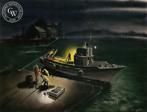 Bait Boat, c. 1930's, California art by Irv Wyner. HD giclee art prints for sale at CaliforniaWatercolor.com - original California paintings, & premium giclee prints for sale