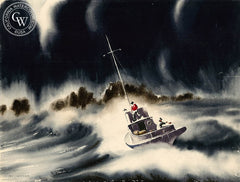 In Distress, c. 1930's, California art by Irv Wyner. HD giclee art prints for sale at CaliforniaWatercolor.com - original California paintings, & premium giclee prints for sale