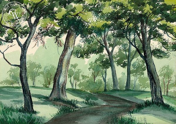 Shadows on the Path, California art by J. Milford Ellison. HD giclee art prints for sale at CaliforniaWatercolor.com - original California paintings, & premium giclee prints for sale