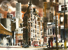 Jack Laycox - Columbus Tower, S.F. - California art - fine art print for sale, giclee watercolor print - Californiawatercolor.com