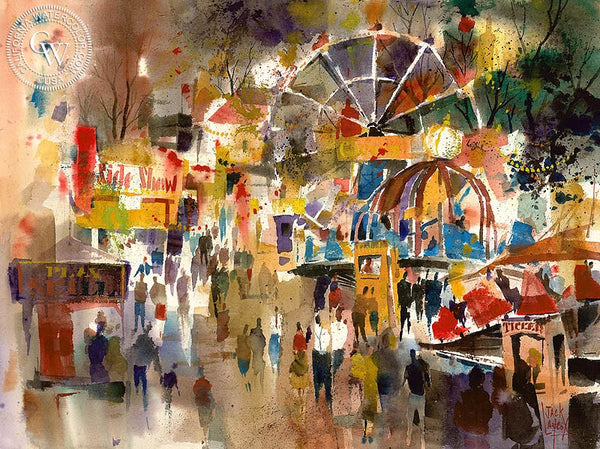 Jack Laycox - County Fair, c. 1960 - California art - fine art print for sale, giclee watercolor print - Californiawatercolor.com