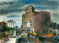 Jack Laycox - Hotel Huntington - California art - fine art print for sale, giclee watercolor print - Californiawatercolor.com