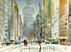 Jack Laycox - Park Avenue, N.Y., California art, original California watercolor art for sale - CaliforniaWatercolor.com