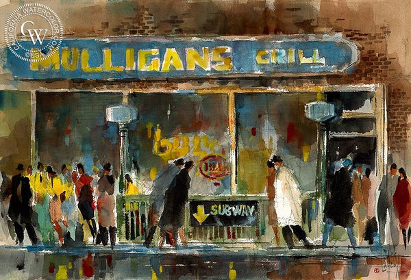 Jack Laycox - Subway Riders - California art - Californiawatercolor.com