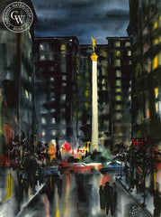 Jack Laycox - Union Square, California art, original California watercolor art for sale - CaliforniaWatercolor.com
