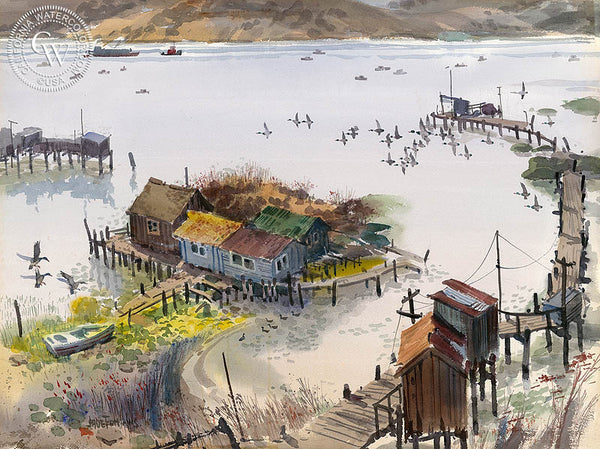 Benicia Fishing Village, California art by Jade Fon. HD giclee art prints for sale at CaliforniaWatercolor.com - original California paintings, & premium giclee prints for sale