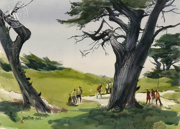 Monterey Peninsula Golf, a California scene watercolor painting by Jade Fon. HD giclee art prints for sale at CaliforniaWatercolor.com - original California paintings, & premium giclee prints for sale