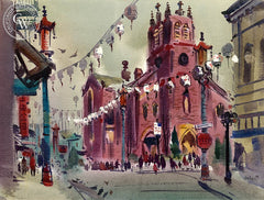 St. Mary's, Chinatown, c. 1940's, California art by Jade Fon. HD giclee art prints for sale at CaliforniaWatercolor.com - original California paintings, & premium giclee prints for sale