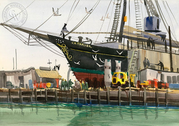 Thayer at Oakland Drydock, California art by Jade Fon. HD giclee art prints for sale at CaliforniaWatercolor.com - original California paintings, & premium giclee prints for sale