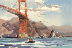 Golden Gate Bridge, by Jade Fon. An original watercolor on paper featuring a tug boat under the Golden Gate Bridge in San Francisco.  This painting is available as a fine art giclée printed in high-definition on premium watercolor paper. - CaliforniaWatercolor.com