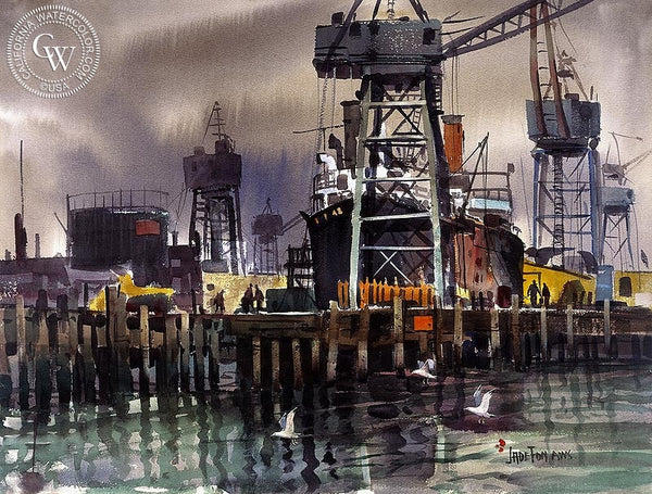 The Port, California art by Jade Fon. HD giclee art prints for sale at CaliforniaWatercolor.com - original California paintings, & premium giclee prints for sale