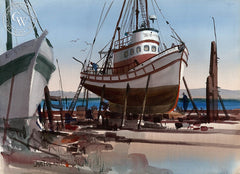 West Coast Drydock, California art by Jade Fon. HD giclee art prints for sale at CaliforniaWatercolor.com - original California paintings, & premium giclee prints for sale