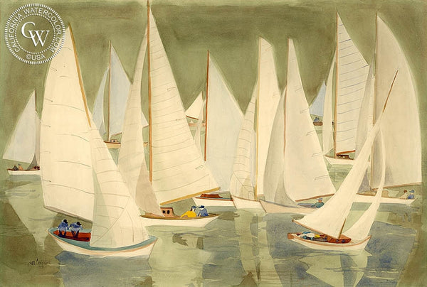 Jae Carmichael - Newport Harbor, 1953, California art, original California watercolor art for sale - CaliforniaWatercolor.com